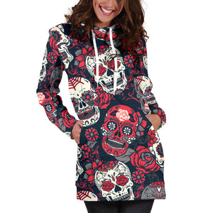 Red & White Skull Women's Hoodie Dress - Hello Moa