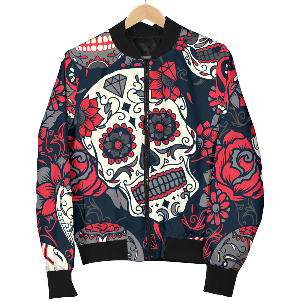 Red & White Sugar Skull Women's Bomber Jacket - Hello Moa
