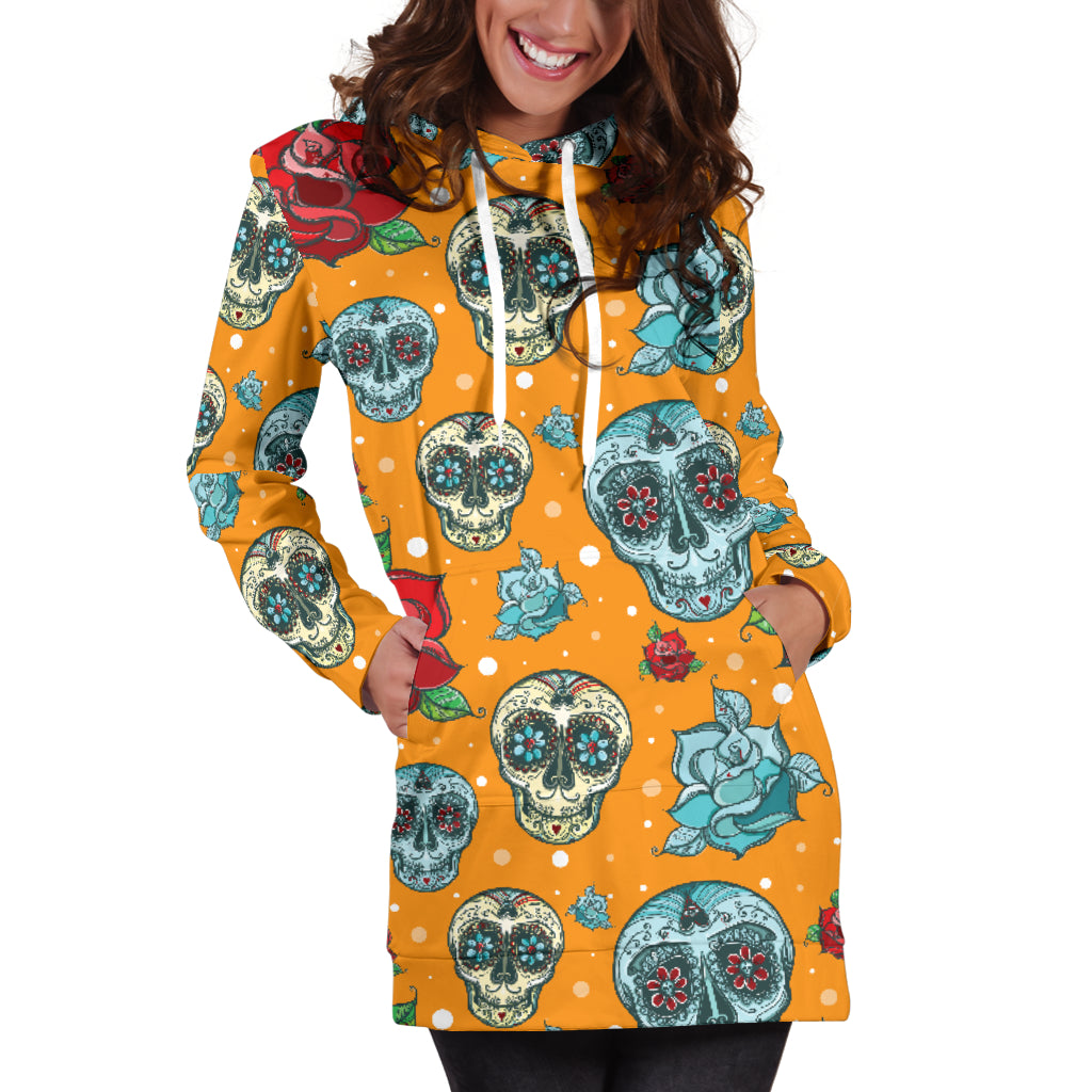 Red & Blue Sugar Skull Women's Hoodie Dress