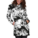 Black & White Skull Women's Hoodie Dress