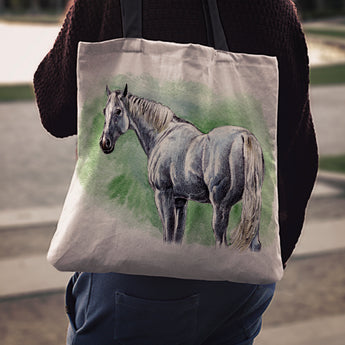 Green Horse Cloth Tote Bag