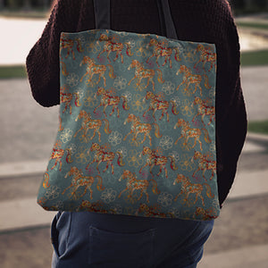 Green Flower Horse Cloth Tote Bag