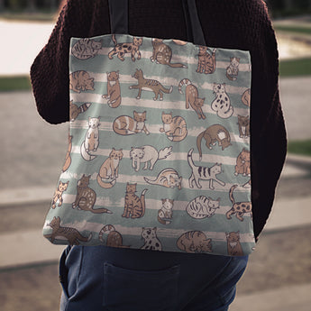 Green Cats Cloth Tote Bag