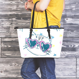 Happy Cat II Leather Tote Bag - Hello Moa