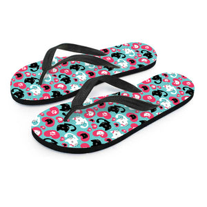 Cats & Hearts Flip Flops - Hello Moa
