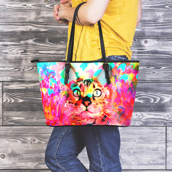 Pink Cat Leather Tote Bag