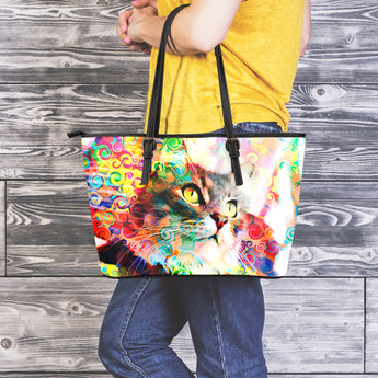 Rainbow Cat Leather Tote Bag