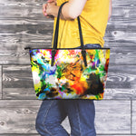Sleeping Cat Leather Tote