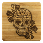 Sugar Skull Droplet Bamboo Drink Coaster