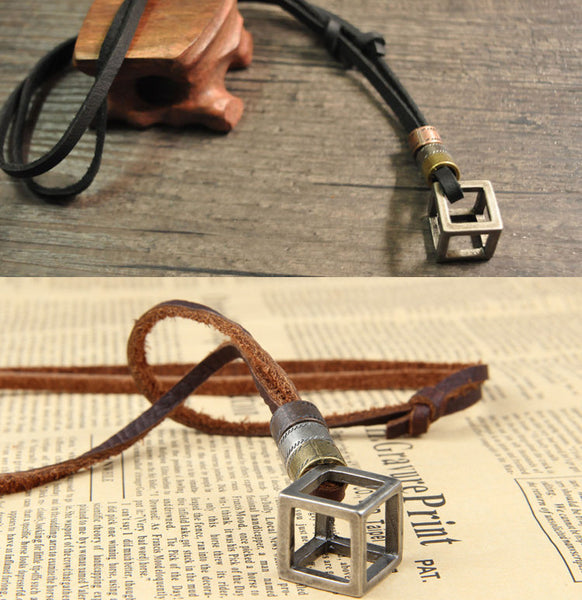 Leather Steampunk Box Necklace