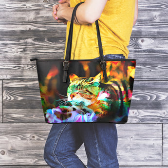 Sleeping Cat II Leather Tote Bag