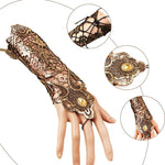 Steampunk Style Lace Finger-less Long Glove - Hello Moa