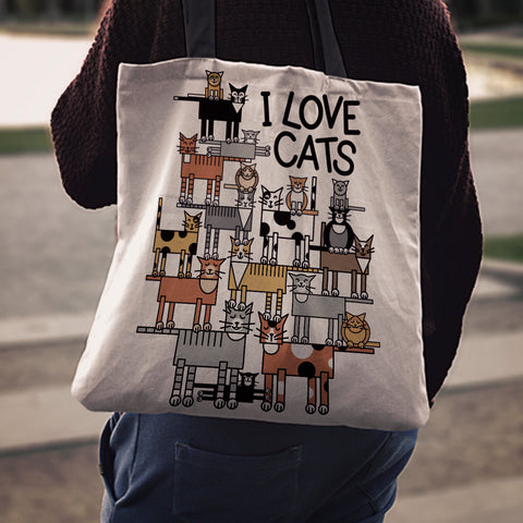 Image of Love Cats Cloth Tote Bag