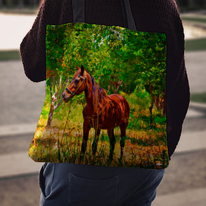 Meadow Horse Cloth Tote Bag