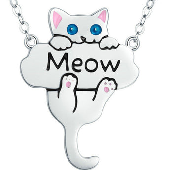 Meow Cat 925 Sterling Silver Necklace