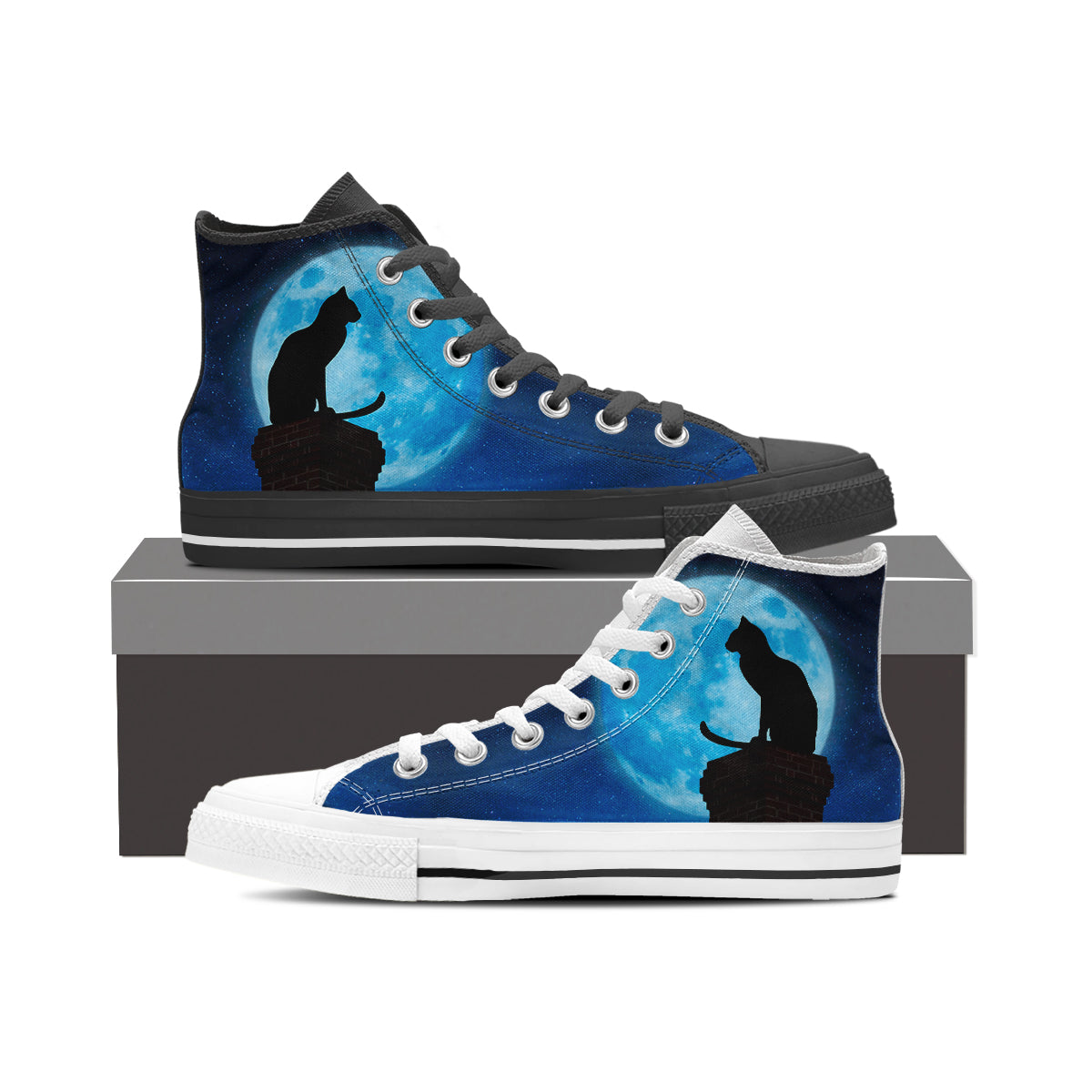 Black Cat & Moon High Tops (Women's) - Hello Moa