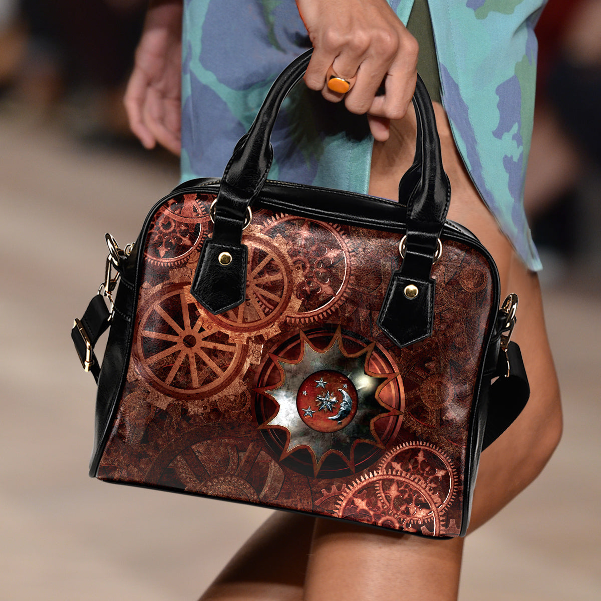 Moon Cog Shoulder Handbag - Hello Moa