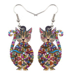 Floral Sitting Cat Kitten Earrings