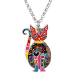 Enamel Alloy Floral Cat Necklace - Hello Moa