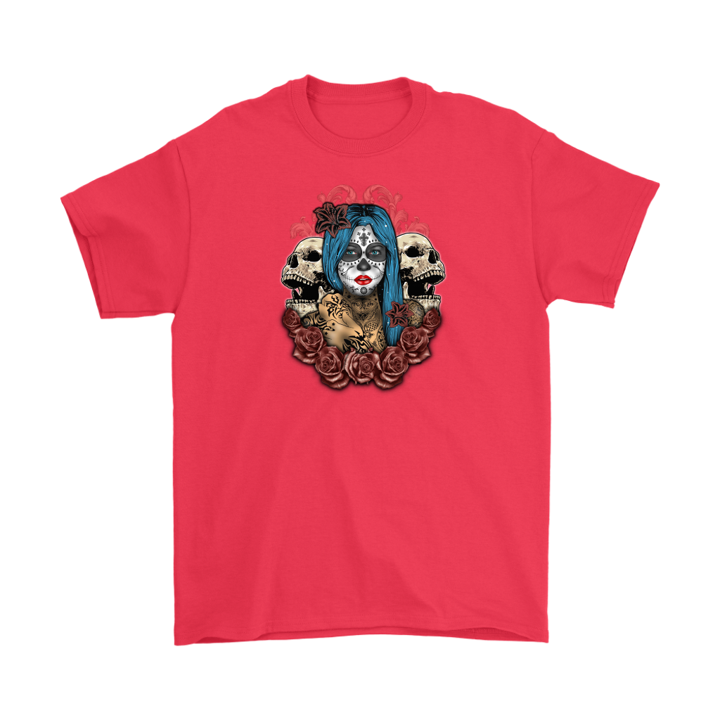 Blue Hair Sugar Skull Tee - Hello Moa
