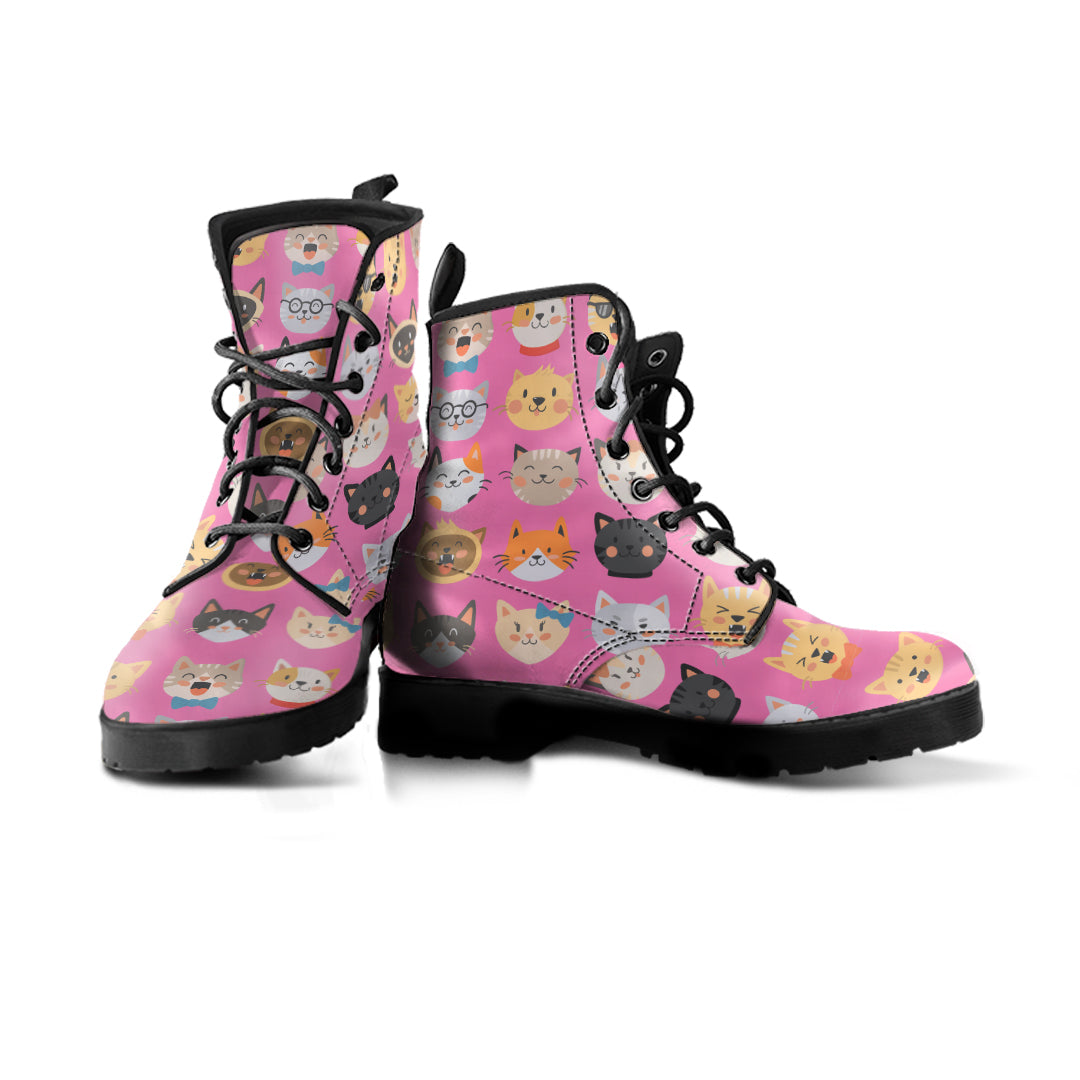Pink Cat Faces Boots (Women's)