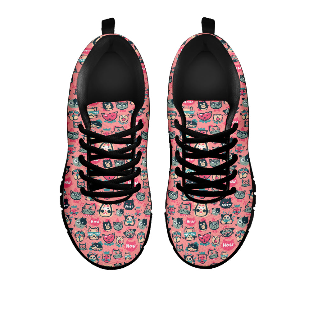 Pink Meow Cat Sneakers (Kids) - Hello Moa