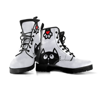 Black Cat And Paw Women Boots