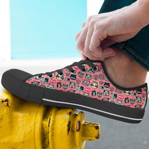 Pink Meow Cat Lo Top Shoes - Hello Moa