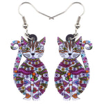 Floral Sitting Cat Kitten Earrings - Hello Moa