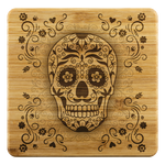 Sugar Skull Flower Bamboo Drink Coaster