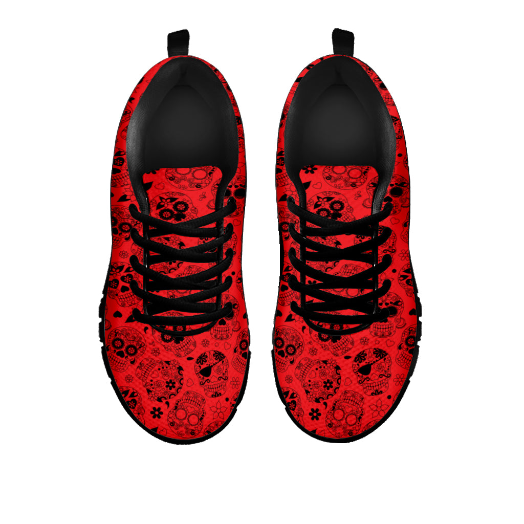 Red Sugar Skull Sneakers - Hello Moa