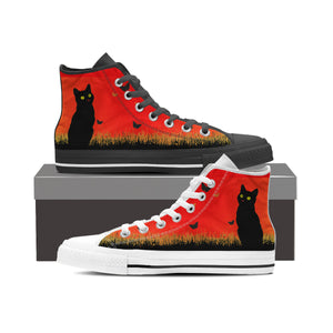 Express Black Cat Red Sky High Tops (Women's)