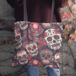 Red & White Sugar Skull Cloth Tote Bag - Hello Moa