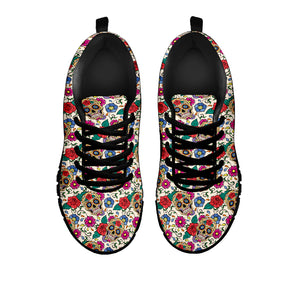 Red & Green Sugar Skull Sneakers - Hello Moa