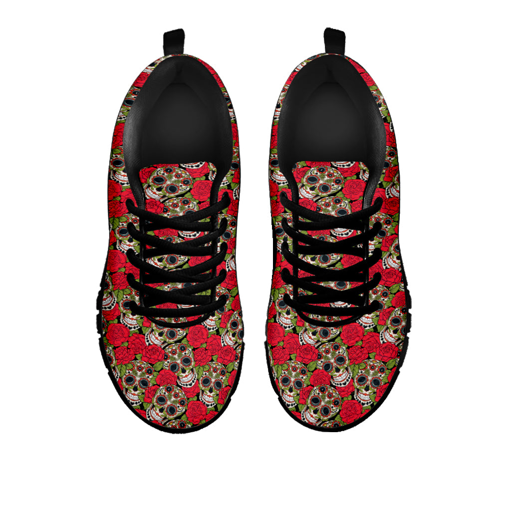 Red Rose Sugar Skull Sneakers - Hello Moa