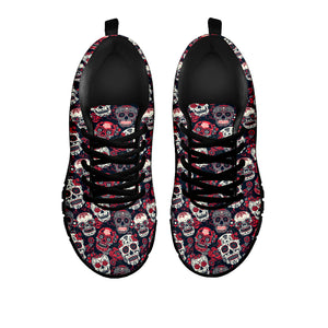 Red & White Sugar Skull Sneakers - Hello Moa