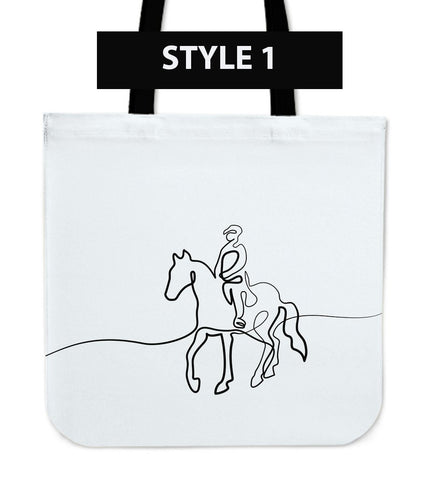 Line Drawing Horse Cloth Tote Bags