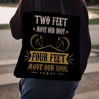 """Two Feet Four Feet"" Horse Cloth Tote Bag"