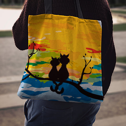 Image of Sunset Cats Cloth Tote Bag