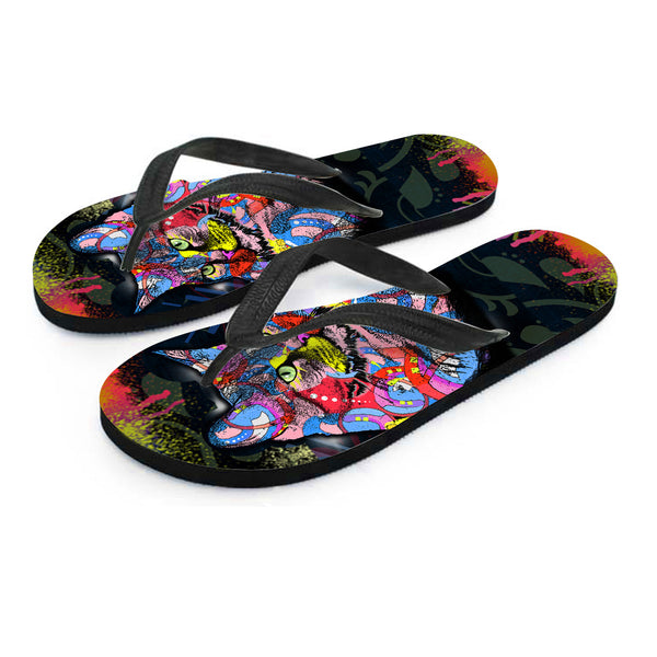 Surreal Cat Flip Flops