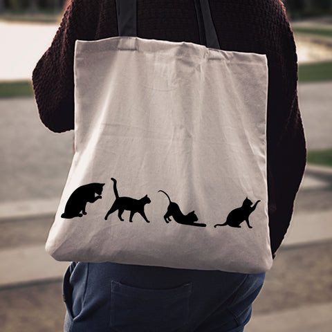 Black & White Cat Cloth Tote Bags