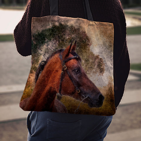 Horse & Tree Cloth Tote Bag