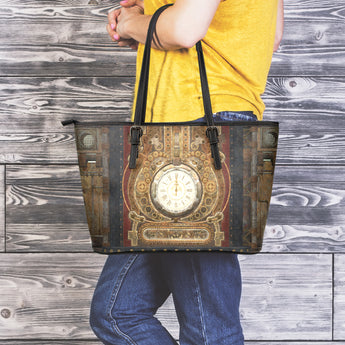 Vintage Steampunk Clock Large Tote