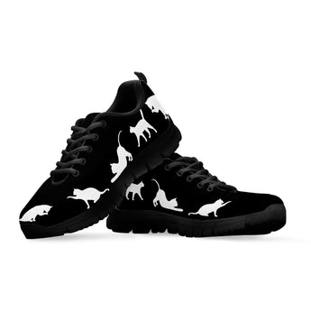 Kid's Black & White Cat Sneakers