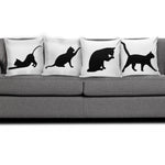 Black & White Cat Pillow Covers - Hello Moa
