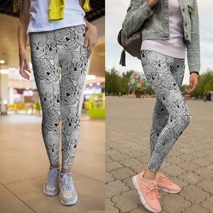 Black & White II Sugar Skull Leggings