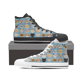 Blue Cat Faces High Tops (Women's)