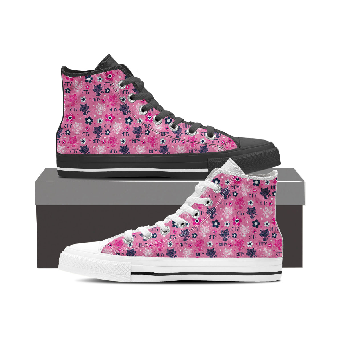 Cute Kitten High Tops (Women's)