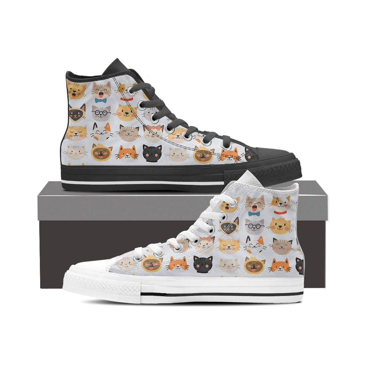 White Cat Faces High Tops (Women's) - Hello Moa