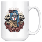 Blue Hair Sugar Skull Coffee Mug - Hello Moa